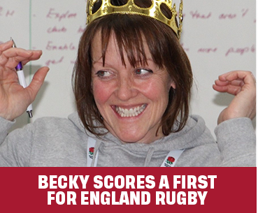 BECKY SCORES A FIRST FOR ENGLAND RUGBY