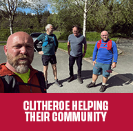 FIVE GO YOMPING TO HELP CLITHEROE COMMUNITY